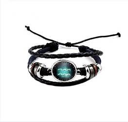 Черный женский/мужской браслет MISSITA из натуральной кожи со знаком зодиака  Водолей (00105)