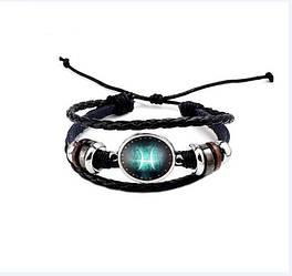 Черный женский/мужской браслет MISSITA из натуральной кожи со знаком зодиака  Рыбы(00106)