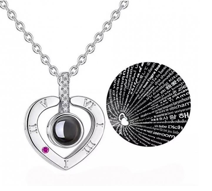 """Кулон с проекцией """" Я тебя люблю"""" на 100 языках мира Ronin серебряный Сердце (002090)"""