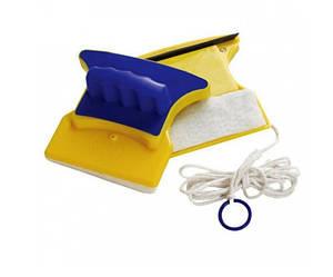Магнитная щетка Glass Wiper для мытья окон с двух сторон 12 мм Желто-синяя (030122)