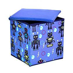 Корзинка-пуфик цветной, с рисунком Роботы