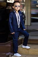 Льняной костюм на мальчика тройка синий, фото 1