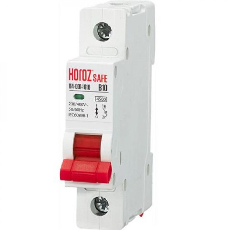 Автомат однополюсный 1Р 10А В 4,5кА 230V Safe Horoz Electric 114-001-1010-010