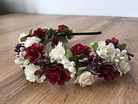 Віночок з бордовими квітами, фото 1