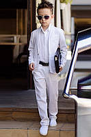 Льняной костюм на мальчика тройка белый