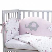 """Защитный бампер  в кроватку """"Elephant family """" pink Верес™, фото 1"""