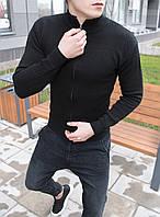 Свитер на змейке кофта реглан свитшот мужской весенний осенний модный стильный черный, фото 1