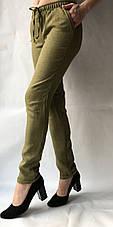 Летние брюки из льна-коттона №14 БАТАЛ хаки, фото 3