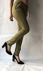 Летние брюки из льна-коттона №14 БАТАЛ хаки
