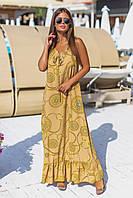 Платье в пол с узорами 50-52