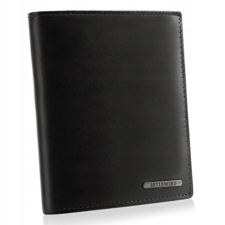 Чоловічий шкіряний гаманець Betlewski з RFID 12,5 х 10,5 х 2,5 (BPM-VTC-307) - чорний