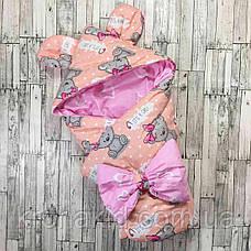 """Детский демисезонный конверт на выписку """"Ушки"""", конверт-одеяло, нарядный конверт на выписку (ВЕСНА/ ОСЕНЬ), фото 2"""