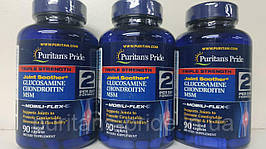 Глюкозамін Хондроітин МСМ, Puritan's Pride Triple Strength Glucosamine Chondroitin MSM 90 таб (зіп-пакет)