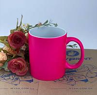 Кружка для сублимации цветная неоновая розовая 11 Oz (330 мл) (6088)