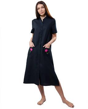 Вышитое летнее платье-рубашка (размеры XS-2XL)