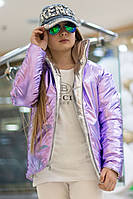Блестящая двусторонняя куртка на подростка сирень с серебром, фото 1