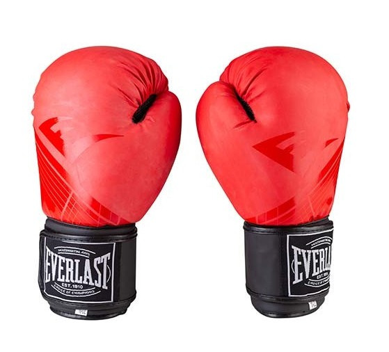Боксерские перчатки в стиле EVERLAST DX матовые красные EV3597  размер 12 унц.