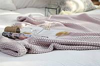 Плед вязаный, 100 % органический хлопок 150 * 180 см. скандинавский стиль 1.5 кг, цвет серо-лиловый