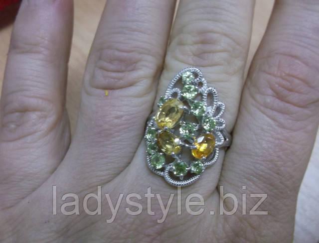 украшения серебро кольцо серьги хризолит перидот купить