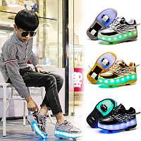 Роликовые кроссовки Angel с подсветкой, 2 колеса, USB, в стиле heelys. Детские и Подростковые (334 -12)