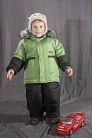 Зимний комбинезон для мальчика однотонный Зеленый