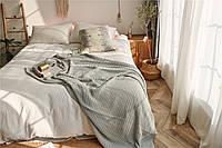 Плед вязаный, 100 % органический хлопок 150 * 180 см. скандинавский стиль 1.5 кг, цвет мятный