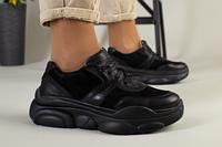 Черные кожаные кроссовки с вставками замши