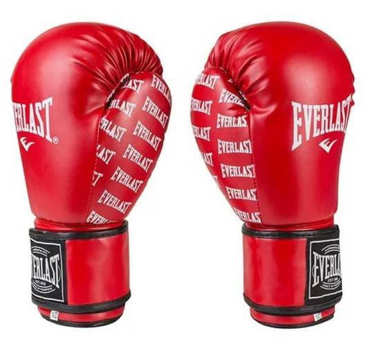 Боксерские перчатки в стиле EVERLAST DX матовые красные EV2218  размер 12 унц.