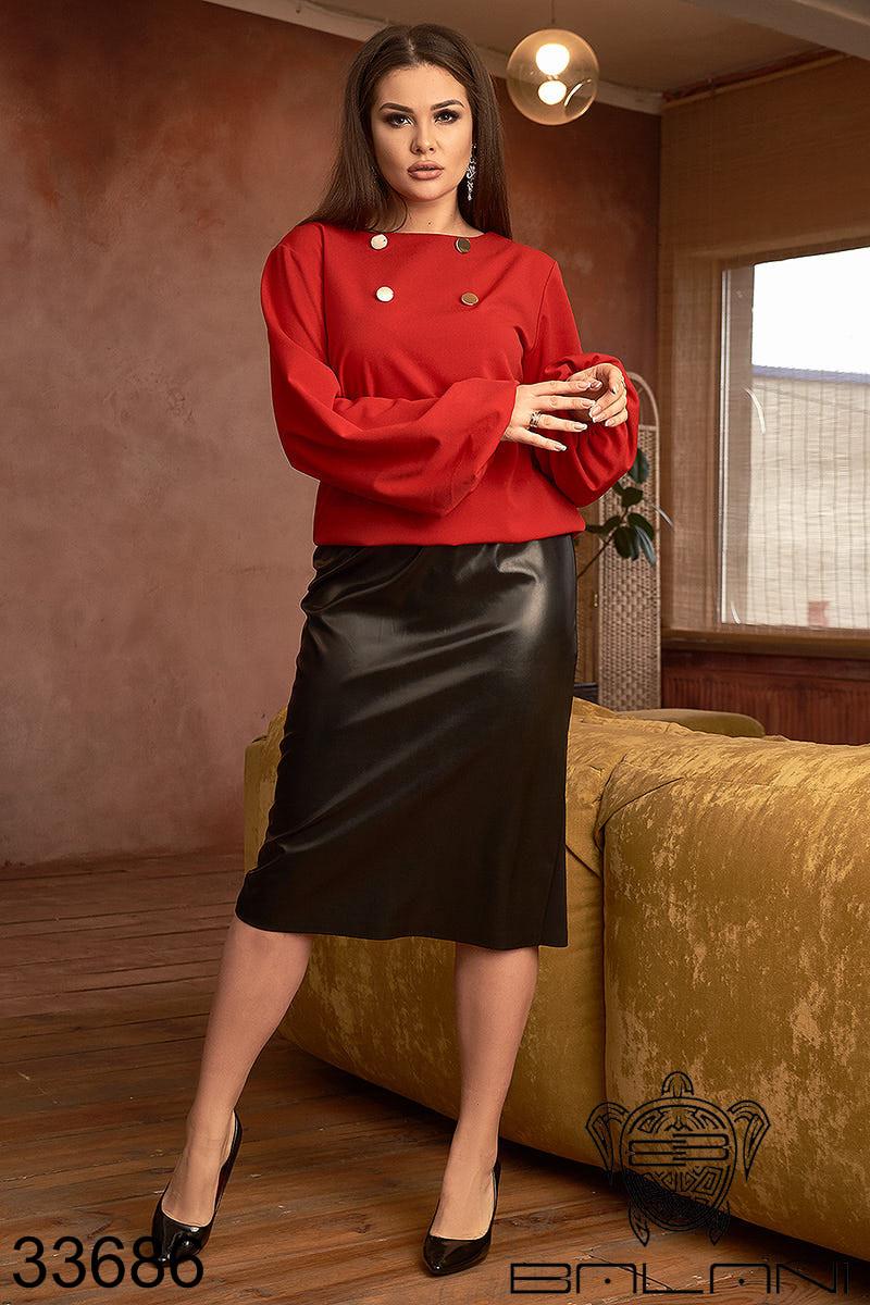 Страсный женский костюм с красной блузой с длинными рукавами и черной кожаной юбкой с 48 по 62 размер