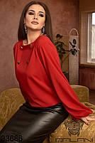 Страсный женский костюм с красной блузой с длинными рукавами и черной кожаной юбкой с 48 по 62 размер, фото 2