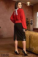 Страсный женский костюм с красной блузой с длинными рукавами и черной кожаной юбкой с 48 по 62 размер, фото 3