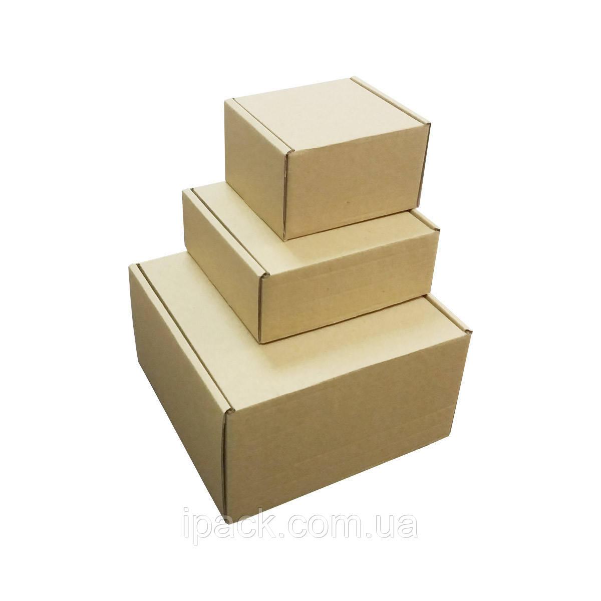Коробка картонная самосборная, 195*140*240, мм, бурая, крафт, микрогофрокартон