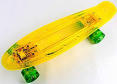 """Пенни борд, Penny Board """"Led"""". Желтый цвет. Дека и колеса светятся!"""
