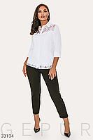 Стильная прямая женская белая блузка с ажуром батал рукав 3/4 большие размеры