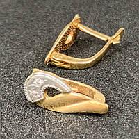 Шикарные золотые серьги с фианитами 585 пробы.