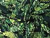 Лен Принт Тропические листья на черном