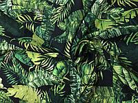Лен Принт Тропические листья на черном, фото 1