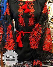 Сучасна жіноча вишиванка у чорному кольорі із фатіновим рукавом «Бохостиль»