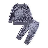 Серый спортивный костюм для девочки 104(4года)(р) весна-осень 00218