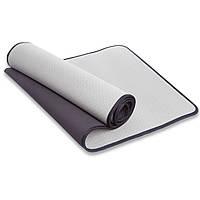 Коврик для фитнеса и йоги с кантом SP-Planeta, TPE, р-р 1,83мx0,61мx6мм., серый (FI-1772-(gr))