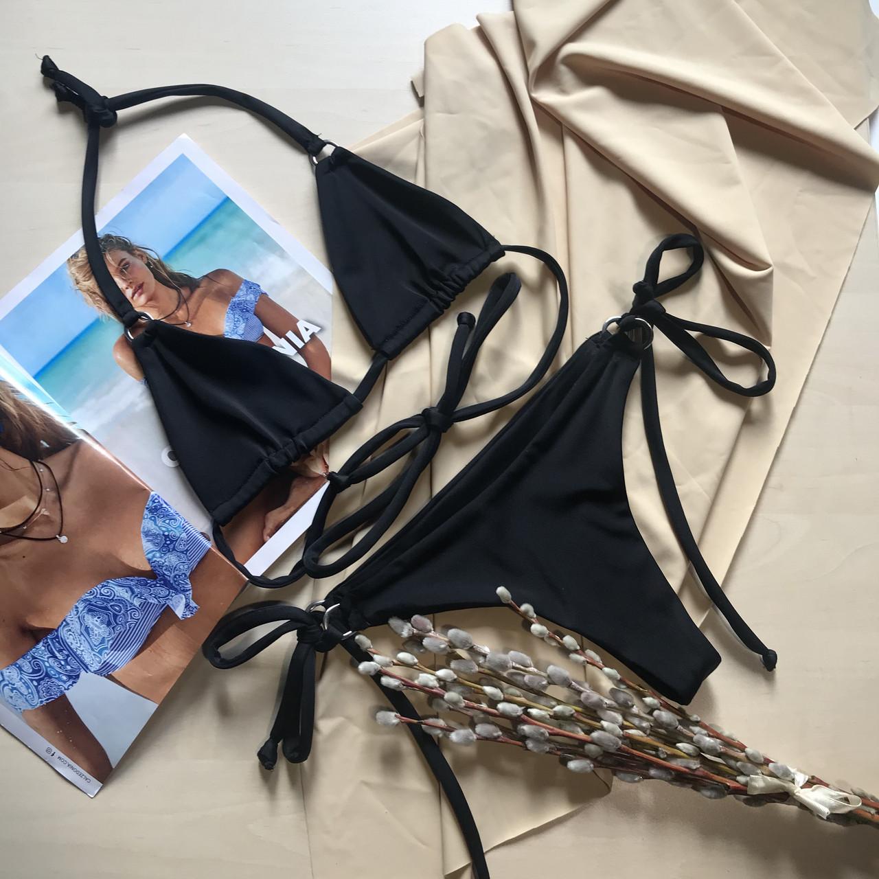 Купальник раздельный шторочками черный цвет размер S Украина ОПТ и Дроп