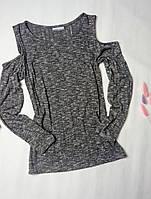 Женская кофта с оголенными плечами из тонкой вязки Anna Rich, фото 1