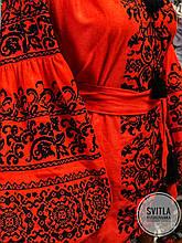 Дизайнерська жіноча вишита блуза у сучасному стилі червоного кольору «Традиція»