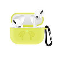 Чехол для наушников Apple AirPods Pro Silicone Case с карабином Желтый