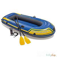 Intex Двухместная надувная лодка 68367 NP (2) Challenger 2 Set, 236 х 114 х 41 см, с веслами и насосом