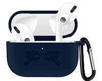 Чехол для наушников Apple AirPods Pro Silicone Case с карабином Темно-Синий