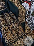 Святкова жіноча вишиванка смарагдового кольору із золотою вишивкою «Золото», фото 3