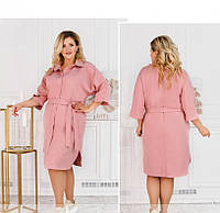 / Размер 50-52,54-56,58-60,62-64 / Женское однотонное, но яркое платье батал с поясом / 815-Розовый