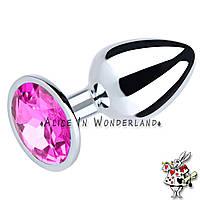 Анальная пробка женская анальная игрушка металлическая розовый кристалл