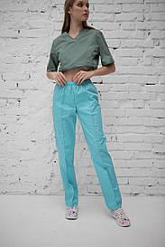 Женские медицинские брюки на резинке (Бирюзовый)